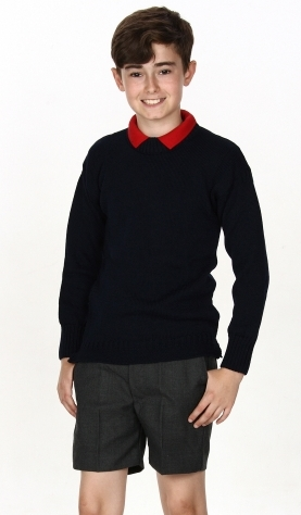 Navy Jumper With Charcoal Shorts