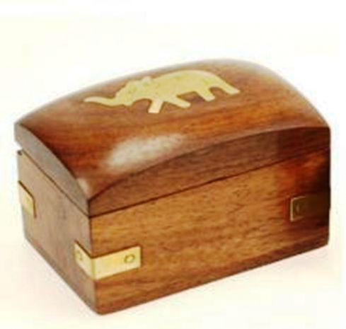 Tiny wood & brass trinket box