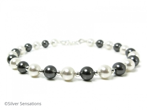 Elegant Grey and White Swarovski Pearls Bracelet With Sterling Silver Beads and Clasp