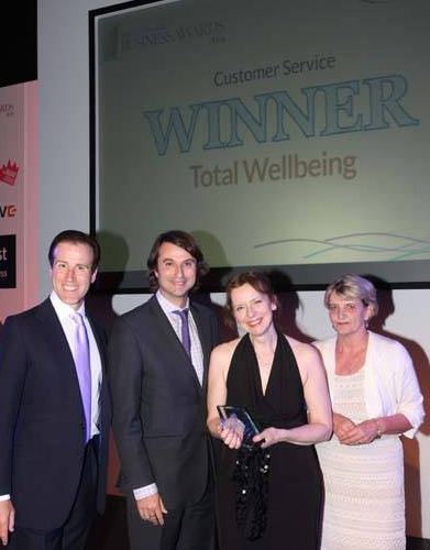 Total Wellbeing are proud winners of the Customer Service Award 2014