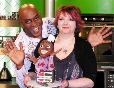 A look-a-like sugar sculpture for TV chef Ainsley Harriott