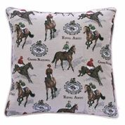 Stylish Horse Racing Themed Tapestry Cushion Cover