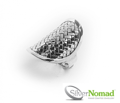925 Sterling Silver Bamboo Weave Ring by Silver Nomad Jewellery UK