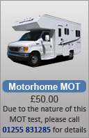 Call 01255 831285 for Motorhome Mot, they require more time to do than a car to test. Thanks..