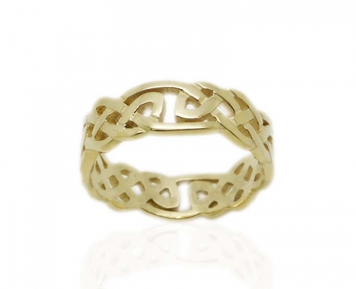 9 ct Yellow Gold Celtic Wedding Band, Made In Scotland