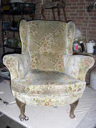 Wing arm chair before being upholsterd