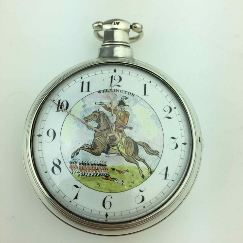 Georgian Solid silver pocket watch with painted dial Wellington