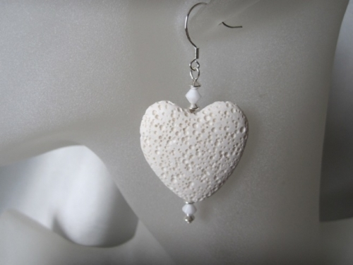 Huge Volcanic Lava Heart Earrings With Swarovski Crystals & Sterling Silver - SSE0271