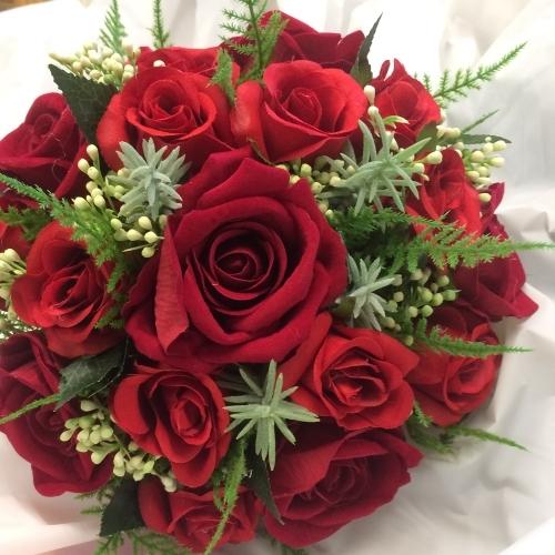 an artificial silk Red Rose Bridal Bouquet