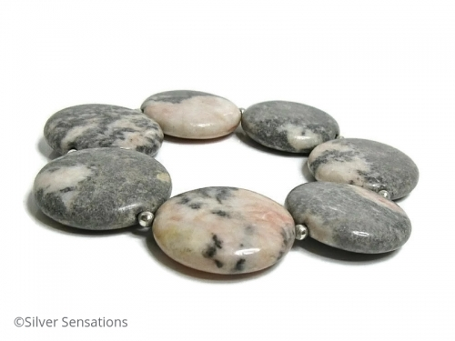 Pink and Grey Chunky Flamingo Jasper Coins Bracelet With Sterling Silver Beads