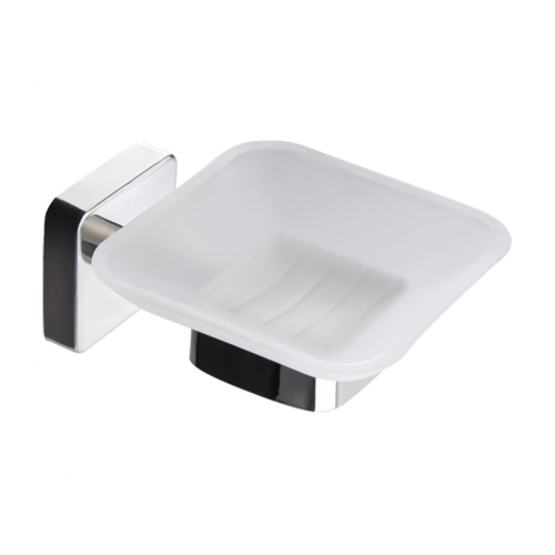 Kapitan Quattro Soap Dish Square Shape Stainless Steel Holder Frosted Glass