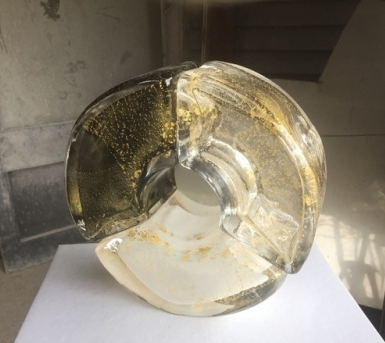 "Von Stumm ""Winter Storm"" Glass Sculpture 23cmx23cmx10cm £1,500"