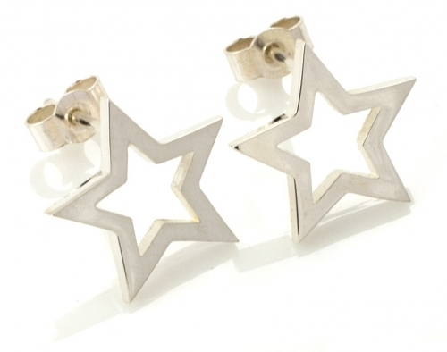 Silver Written Star Earrings by Laura Gravestock