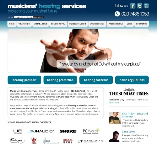 Website: Musicians Hearing Services London