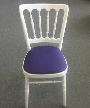 White Banqueting Chair with Purple Pad