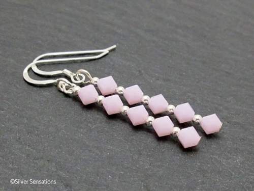 Slim Unique Design Baby Pink Swarovski Crystals and Sterling Silver Beads Earrings