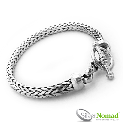 925 Sterling Silver Rounded Woven Snake Bracelet