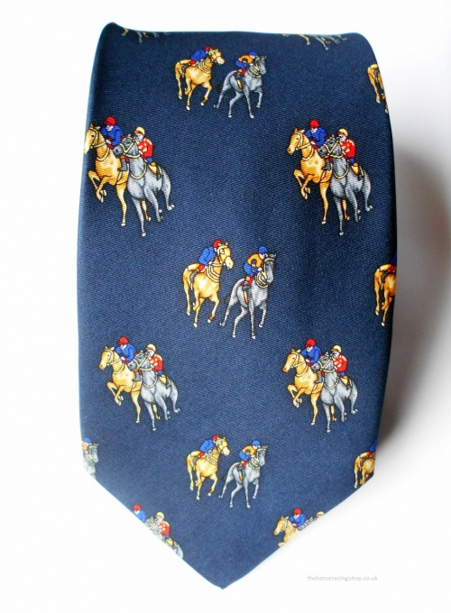 Horse Racing Tie Blue