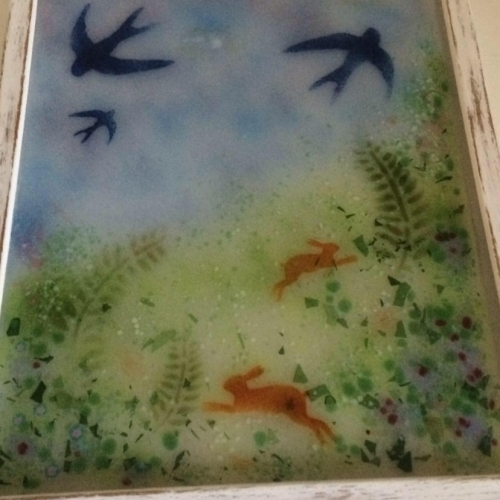 Glass Ornaments Across the Meadow~ Kiln formed and hand painted glass picture in painted frame.
