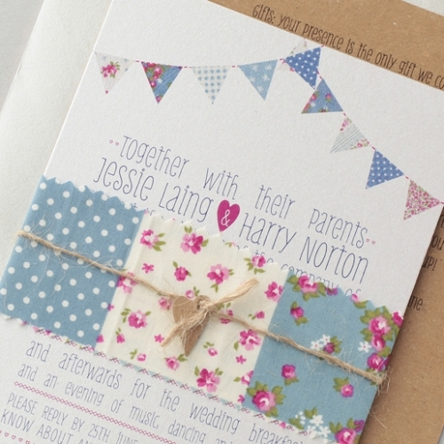 Great British Bunting Invitation with additional information card, all tied up with ditsy-chic fabric and string!
