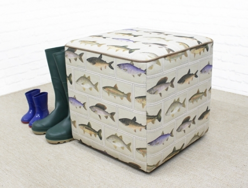 Cube Seat and Footstool - River Fish fabric