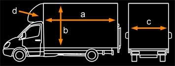The maximum internal dimensions are: A.Length: 400 cm B.Height: 220 cm C.Width: 180 cm D.Over cab (curved area): 186 cm x 100 cm x 70 cm max.