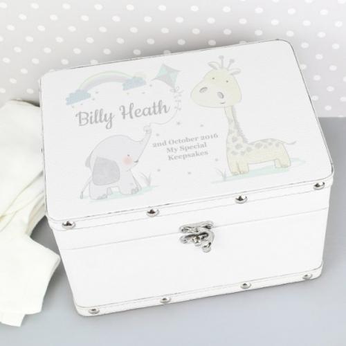 Personalised baby leatherette keepsake box.