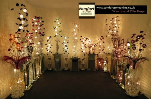 Table and Floor Wire Lamps & Mirrored Pillars - - www.comfortzoneonline.co.uk