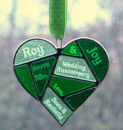 Mosaic Green Heart Suncatcher Engraved