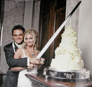 Singer Gareth Gates 5 tier, chocolate wedding cake