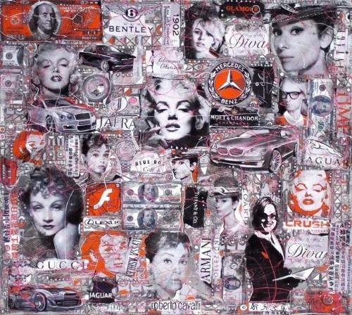 "Wlad Safraknow ""Femme Fatale"" Mixed Media Canvas 85cmx95cm £795"