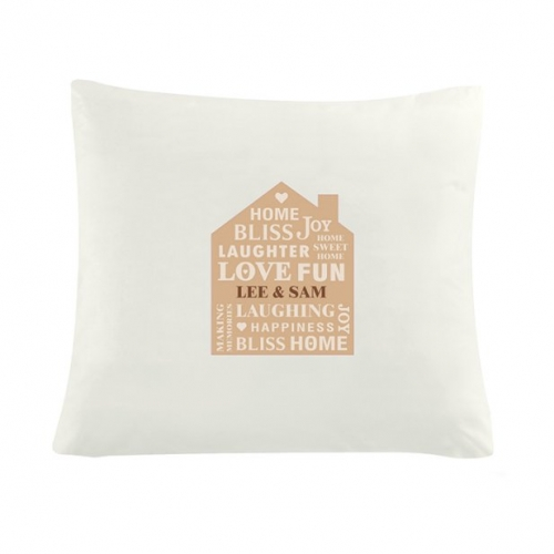 Personalised family typography cushion cover.