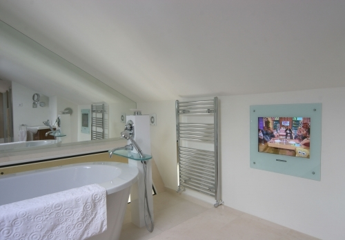 Bathroom Mirror, Mirror to glass TV screen and Toughened glass shelves