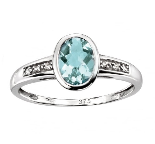 Dipples 9ct White Gold Aquamarine Ring With Diamond Set Shoulders P15412 17247 Zoom