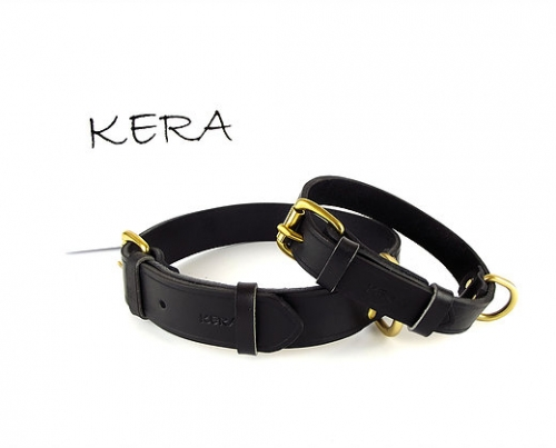 Luxury Black Leather Dog Collar