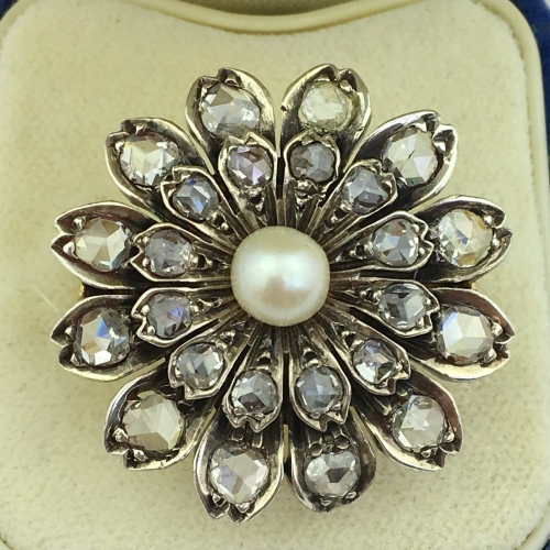 Antique 18ct solid gold ring pearl & Rose cut diamonds cluster with certificate
