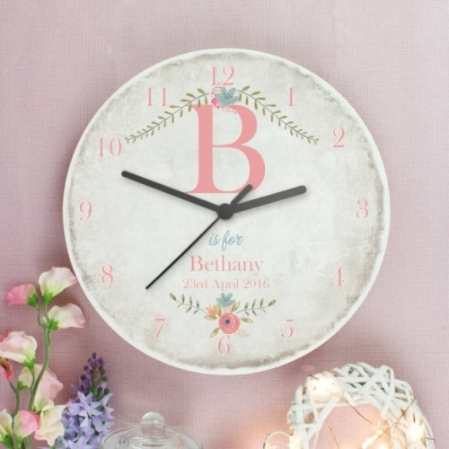 Personalised shabby chic large wooden clock