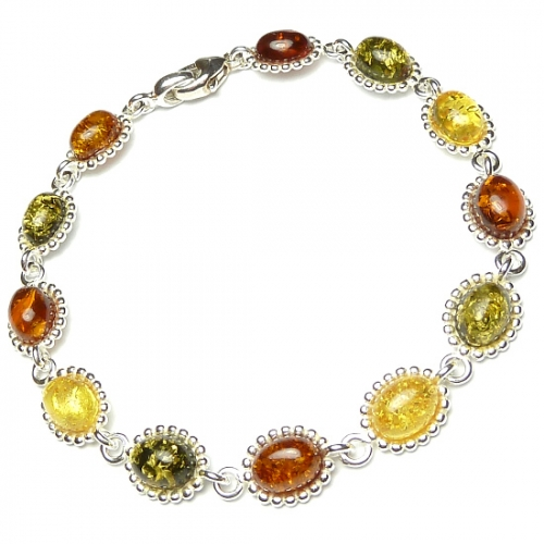 Amber bracelets with silver