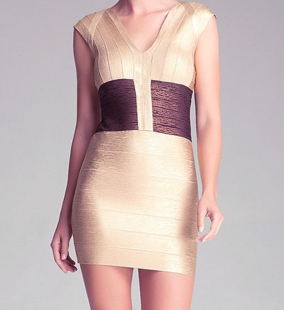 Stunning Gold Foil Print Celeb Bandage Dress