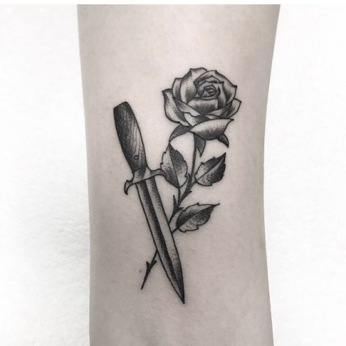 Rose  dagger, tattooed by Simon