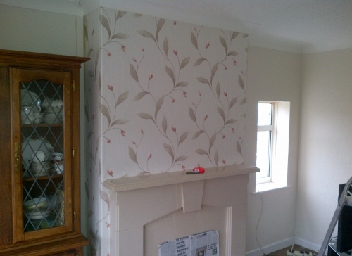 Chimney breast wall papering and room painting / decorating