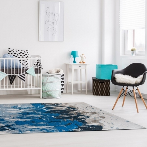 Atlantic Surf 8486 Blue Waves Abstract Rug by Louis De Poortere