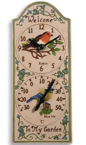 Garden Bird Thermometer And Clock