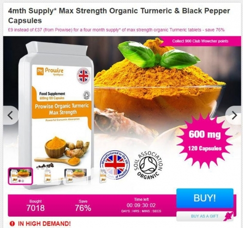 4mnth Supply Max Strength Organic Tumeric & Black Pepper Capsules.