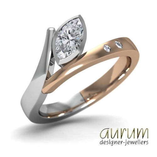 Flick engagement ring with marquise diamond in platinum and red gold