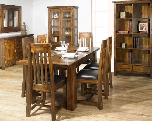 Rustic Acacia Wood Dining and Living Room Furniture