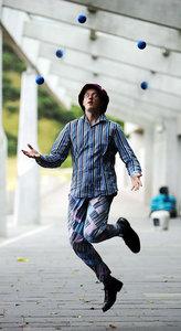 Performing 5 ball juggling at Festival of Politics Photoshoot
