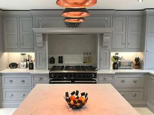 Edwardian Shaker grey kitchen showing wall units