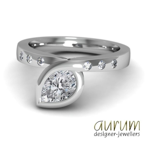 Infinity engagement ring in platinum with a pear-shape diamond
