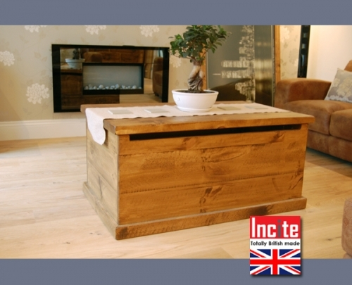 Chunky Plank Tequila Chest coffee table handmade  to order by Incite Interiors in Draycott Derbyshire